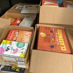 Boxes of books.